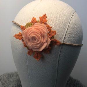 Fall Felt Flower Headband Peach/Orange Leaves Gold